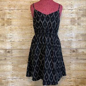 Gap Ikat Tribal Black Strap Flare Dress Sz M